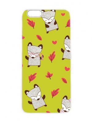 Чехол для iPhone 6 Лисички на салатовом Chocopony. Цвет: белый, золотистый