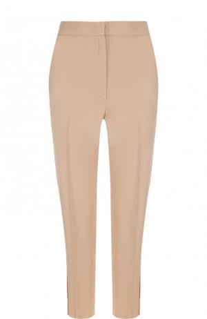 Укороченные брюки с контрастными лампасами и карманами MSGM. Цвет: бежевый