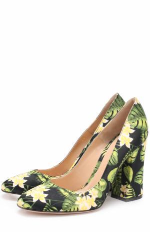 Туфли из текстиля с принтом на массивном каблуке Gianvito Rossi. Цвет: зеленый