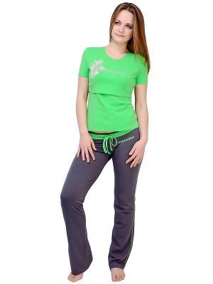 Футболка Flammber. Цвет: светло-зеленый, серо-зеленый, сиреневый