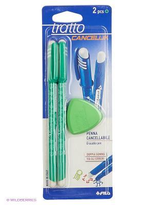Tratto cancellik шариковая ручка пиши-стирай зеленая, 2 шт в блистере + ластик. FILA. Цвет: зеленый, белый, синий