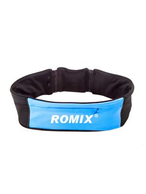 Пояс для занятий спортом с тремя карманами RH26 (размеры S, M) ROMIX. Цвет: синий