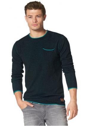 Пуловер JOHN DEVIN. Цвет: красный/светло-серый меланжевый, темно-синий/аква, черный/бирюзовый