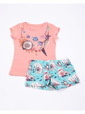 Комплект одежды: футболка, шорты Mark Formelle. Цвет: розовый, морская волна, светло-голубой