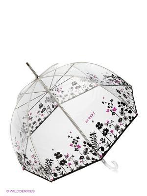 Зонт Isotoner. Цвет: прозрачный, розовый, черный