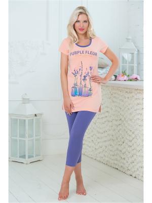 Домашний костюм Mia Cara. Цвет: персиковый
