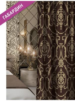 Штора (1шт.) Волшебная ночь 150см*270см, ткань-Габардин,  стиль-ВЕРСАЛЬ, GOLDLACE. Цвет: бежевый, коричневый