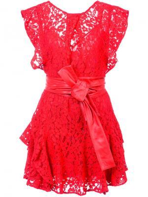 Кружевное платье Marissa Webb. Цвет: красный