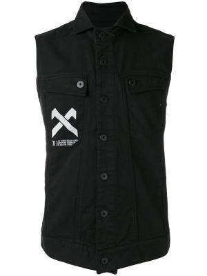 Denim sleeveless shirt 11 By Boris Bidjan Saberi. Цвет: чёрный