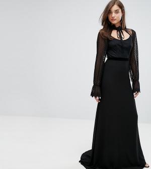 TFNC Платье макси с длинными кружевными рукавами и бархатной отделкой. Цвет: черный