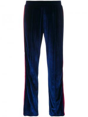 Бархатные спортивные брюки Forte Couture. Цвет: синий