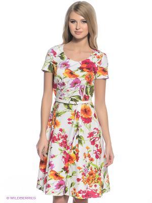 Платье Finn Flare. Цвет: молочный, красный, зеленый