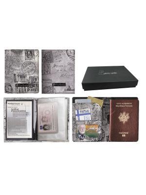 Набор Pierre Cardin: обложка для паспорта и водитительского удостоверения, серый Cardin. Цвет: серый