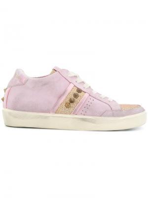 Кроссовки с панельным дизайном Leather Crown. Цвет: розовый и фиолетовый