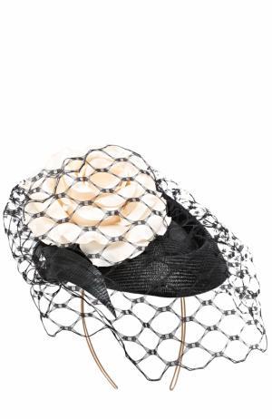 Шляпа с декором и кружевом Philip Treacy. Цвет: черно-белый