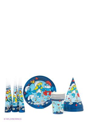 Набор для праздника, 24 предмета Смурфики. Цвет: синий, голубой