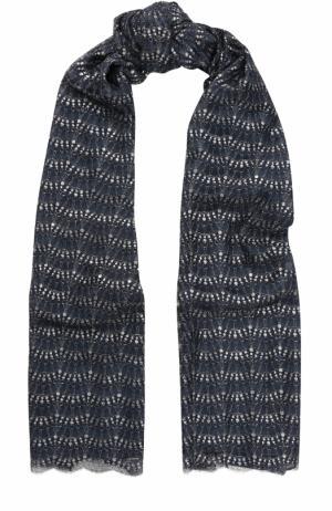 Шелковый палантин с металлизированной нитью St. John. Цвет: темно-синий