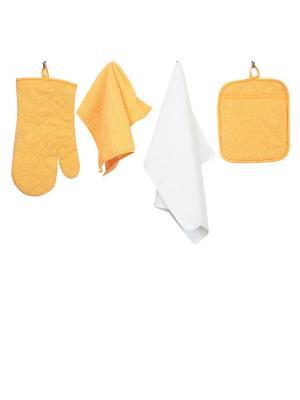 Набор кухонных принадлежностей из микрофибры: прихватка, рукавица, салфетка полотенце ТекСтиль для дома. Цвет: желтый, белый