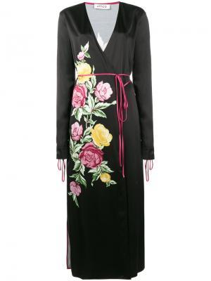 Атласное платье миди Grace с цветочным принтом Attico. Цвет: чёрный