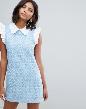Sister jane Кружевное платье мини с воротником. Цвет: синий