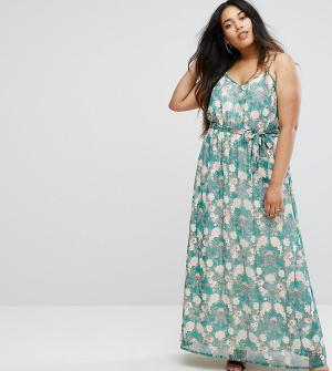 Uttam Boutique Plus Платье макси с цветочным принтом. Цвет: зеленый