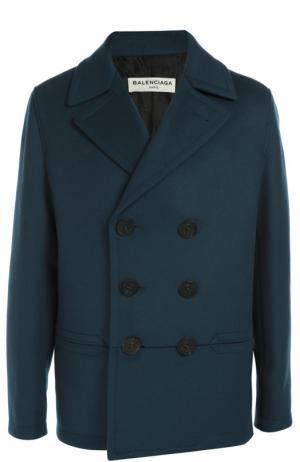 Двубортное шерстяное пальто с отложным воротником Balenciaga. Цвет: синий
