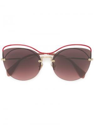 Массивные декорированные солнцезащитные очки Miu Eyewear. Цвет: розовый и фиолетовый