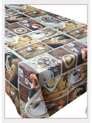 Скатерть с фотопринтом Кофе круассанами, 150x220 см Ambesonne. Цвет: бежевый, желтый, коричневый, оранжевый