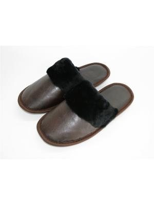Тапочки из натурального меха и кожи Тефия. Цвет: черный, коричневый