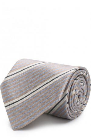 Шелковый галстук в полоску Brioni. Цвет: бежевый