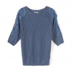 Пуловер с рукавами 3/4 из ажурного трикотажа MOLLY BRACKEN. Цвет: синий