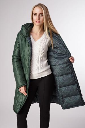 Демисезонное пальто на пуху Salco. Цвет: зеленый