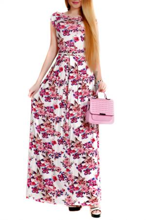 Платье FRANCESCA LUCINI. Цвет: молочный, розовый, цветы