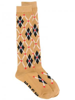 Носки с ромбовидным узором MSGM. Цвет: коричневый
