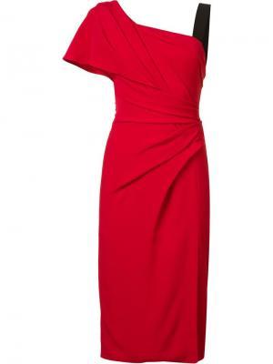 Драпированное платье на одно плечо J. Mendel. Цвет: красный