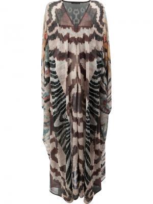 Платье-кафтан с принтом Afroditi Hera. Цвет: многоцветный