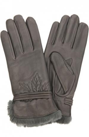 Кожаные перчатки с отделкой из меха кролика Agnelle. Цвет: темно-серый