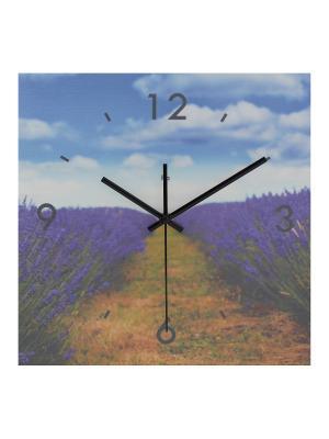 Часы настенные Лавандовое поле HOLSTART. Цвет: синий