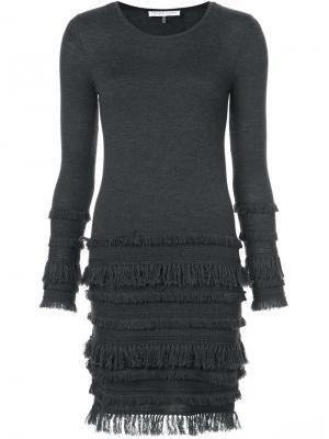 Трикотажное платье с оборками Trina Turk. Цвет: серый