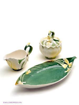 Набор: сахарница и молочник Лилия Pavone. Цвет: светло-зеленый, молочный