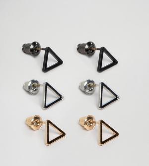 DesignB London Набор из 3 пар серьг-гвоздиков треугольной формы эксклю. Цвет: золотой