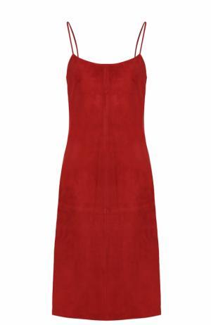 Замшевое платье-миди на тонких бретельках Theory. Цвет: красный
