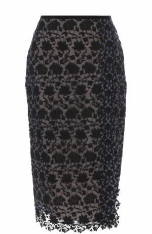 Кружевная юбка-карандаш Erdem. Цвет: черный