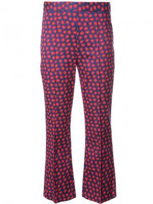 Укороченные брюки с принтом Alice+Olivia. Цвет: синий