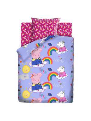 Комплект постельного белья 1.5 бязь Пеппа и радуга Свинка. Цвет: голубой, малиновый