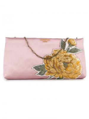 Клатч с цветочной аппликацией Paule Ka. Цвет: розовый и фиолетовый