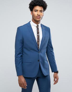 Farah Синий приталенный пиджак. Цвет: синий
