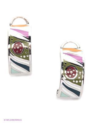Серьги Lovely Jewelry. Цвет: зеленый, розовый