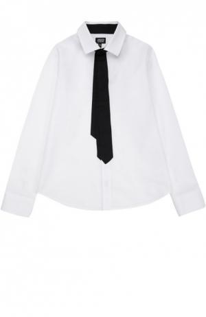 Хлопковая рубашка с декоративным галстуком Giorgio Armani. Цвет: белый