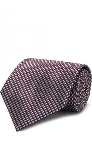 Шелковый галстук с узором Brioni. Цвет: бордовый